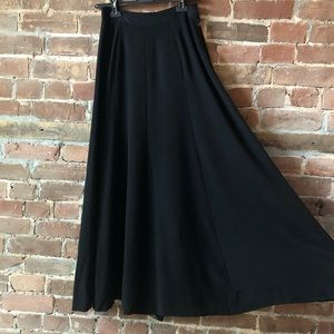 1970s Vintage French Black Crepe Maxi Skirt